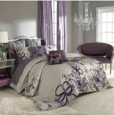 gray and purple bedroom wall color purple curtains bedspread bedroom