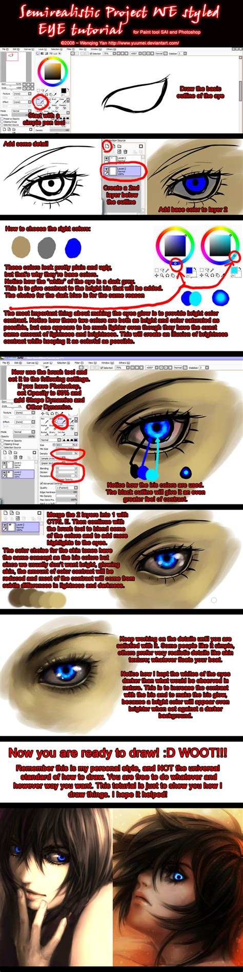 paint tool sai tutorial realistic semirealistic eye tutorial by yuumei on deviantart