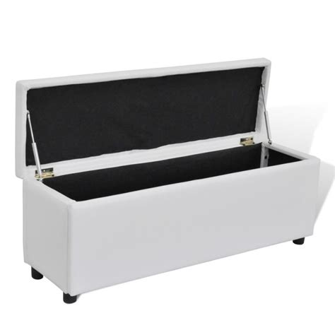 white leather storage ottoman bench faux leather storage ottoman bench in white 118cm buy