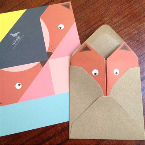 lined paper origami fox writing paper