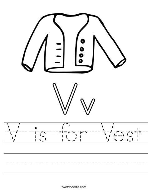 v is for vest worksheet twisty noodle