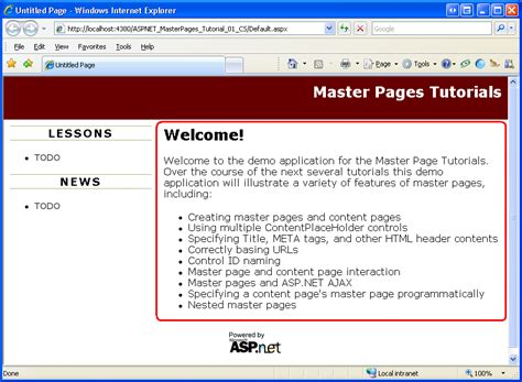 create layout creating a site wide layout using master pages c