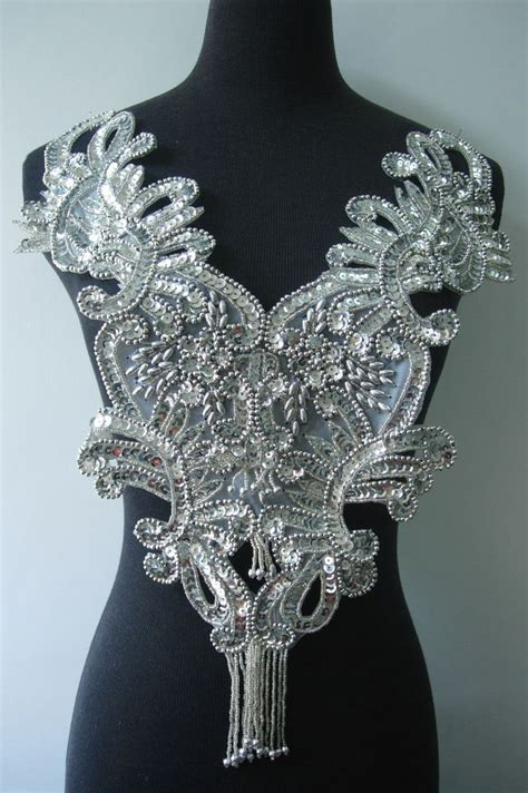 sequin bead applique bd09 silver sequin beaded applique floral fringed bodice