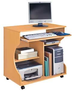 computer desk trolley buy curved computer desk trolley beech effect at argos