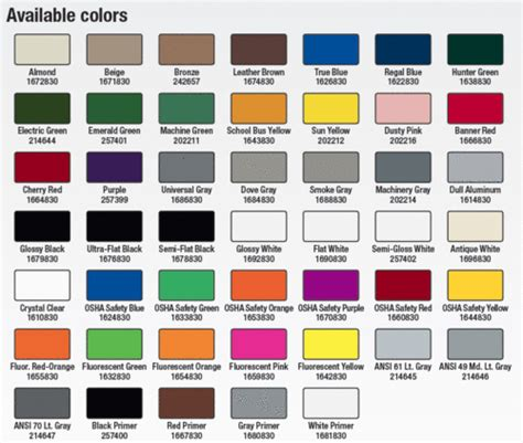 paint colors rustoleum painting color charts images
