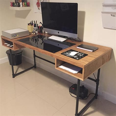 pipe design industrial design desk with steel pipe legs and an