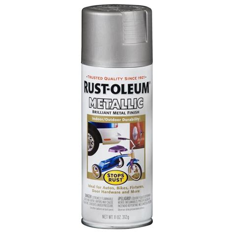spray paint at shop rust oleum stops rust silver metallic rust resistant