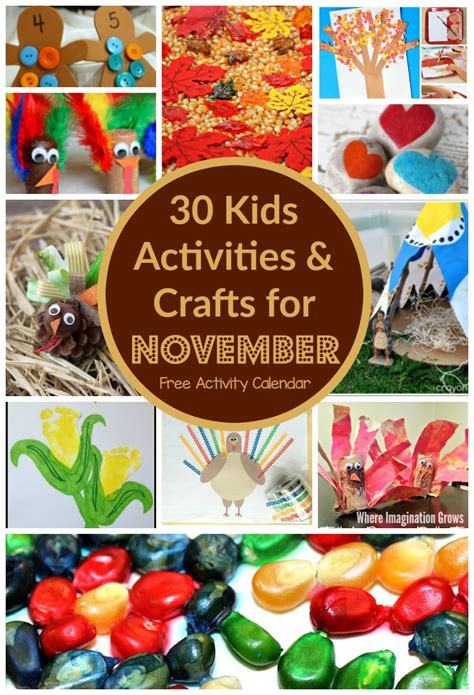 november craft for 30 days of activities for november free activity