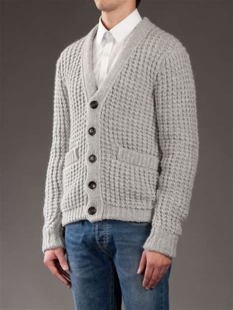 waffle knit cardigan d g waffle knit cardigan in gray for grey lyst