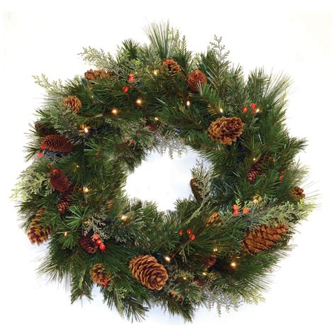 pre lit battery operated wreaths 30 in white pine pre lit led wreath battery operated