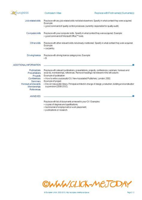 europass cv template free europass cv form word doc pdf