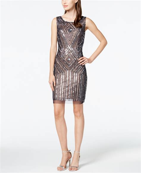 beaded sheath dress papell beaded sequin sheath dress in silver