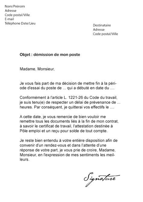 lettre de d 233 mission cdi p 233 riode d essai mod 232 le de lettre
