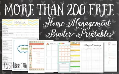 home planner free more than 200 free home management binder printables fab