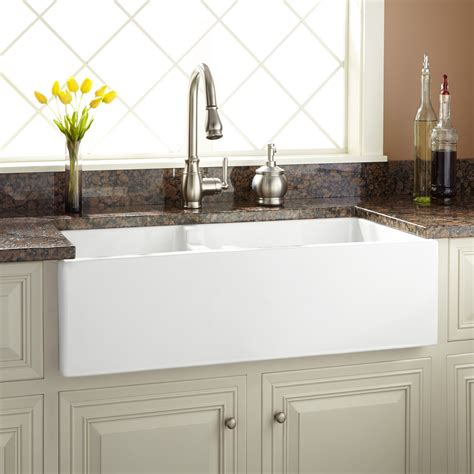 kitchen apron sinks 36 quot risinger 60 40 offset bowl fireclay farmhouse sink