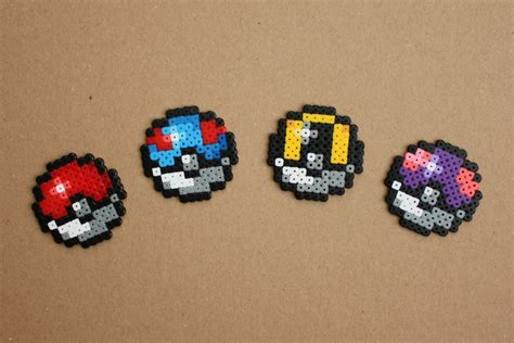 mini perler mini pokeball hama perler bead sprite