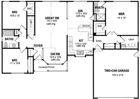 1 level house plans ranch style house plans 2539 square foot home 1 story 3 17