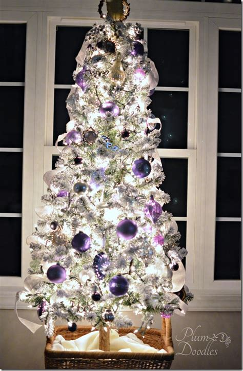 purple and white decorations a purple white and silver themed tree plum