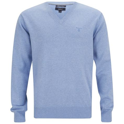 blue knitted jumper mens gant s cotton v neck knitted jumper light blue mens