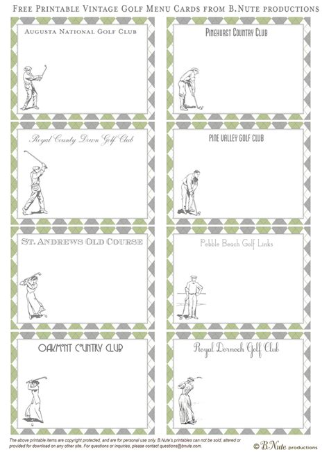 card courses bnute productions free printable vintage golf cards