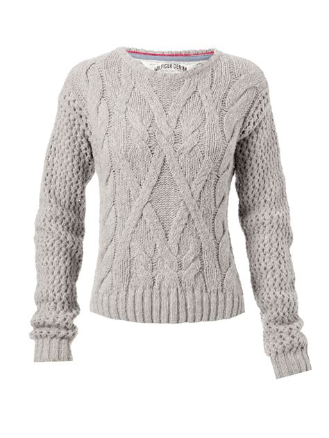cable knit jumper hilfiger sleeve cable knit jumper with crew