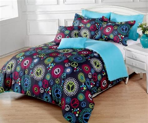 peace sign comforter sets 5 pieces multi colored peace sign black comforter set