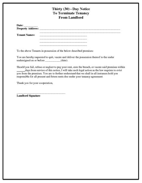 30 day notice to landlord template best business template