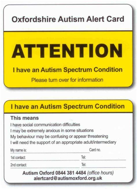 card needs managing anxiety the autism alert card axia asd