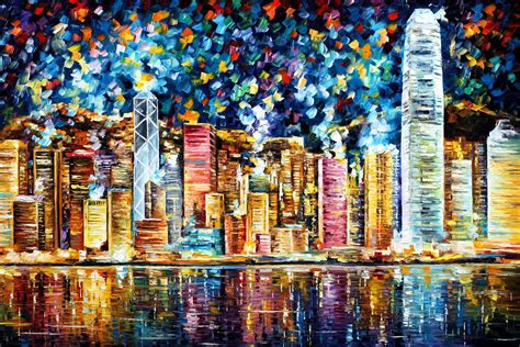 Hong Kong Artwork by Hong Kong Palette Knife Oil Painting On Canvas By Leonid