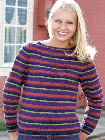 Free Sleeved Sweater Knitting Patterns Striped Boat