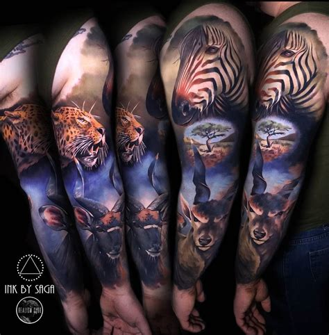 africa sleeve with zebra leopard amp antelope best tattoo