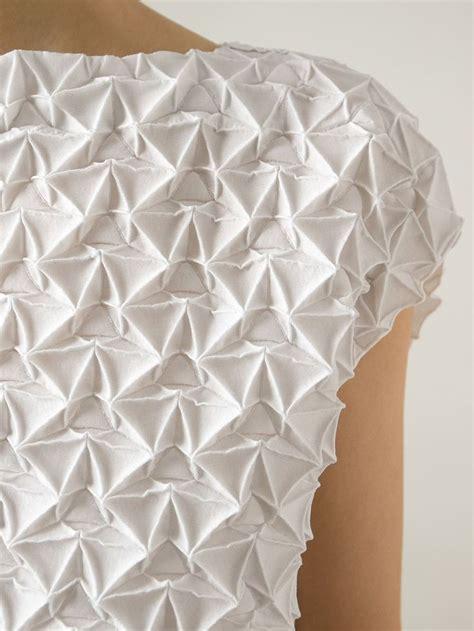 issey miyake origami fabric manipulation textured dress with geometric pleats