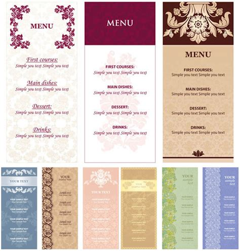 menu templates with flowers vector vector graphics blog