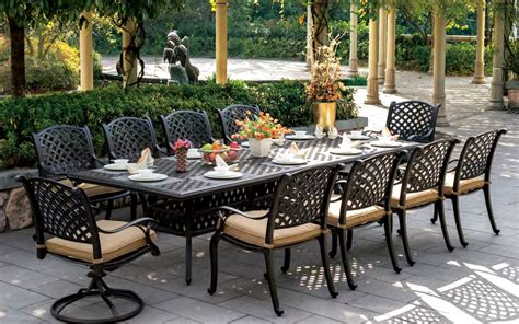 cast aluminum patio furniture sets patio furniture dining set cast aluminum 120 quot rectangular