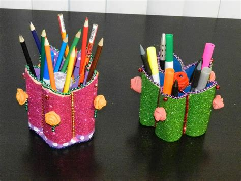 foam paper crafts creative diy crafts flower shaped pen stand holder with