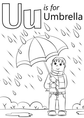 U is for Umbrella coloring page   Free Printable Coloring ... U Coloring Page