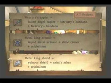 quest viii ps2 all alchemy recipes