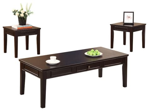 traditional coffee table sets cocktail and 2 end tables espresso finish 3 set
