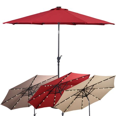 patio umbrella with solar led lights 10 ft patio solar umbrella with crank and led lights