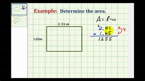 the area exle determine the area of a rectangle using decimals