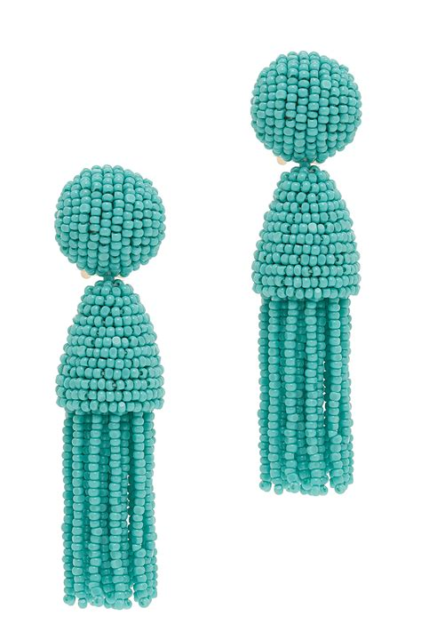 oscar de la renta beaded tassel earrings oscar de la renta beaded tassel earrings in blue lyst