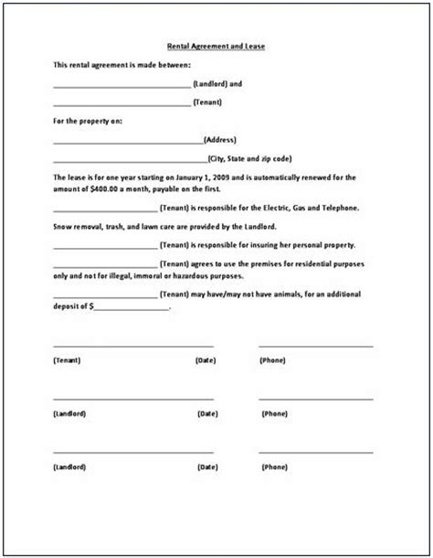 car hire agreement form