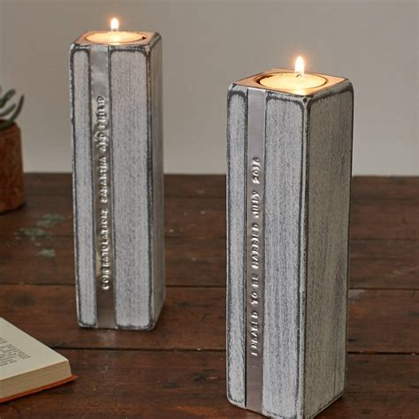 candle holders two personalised wooden tealight candle holders by warner