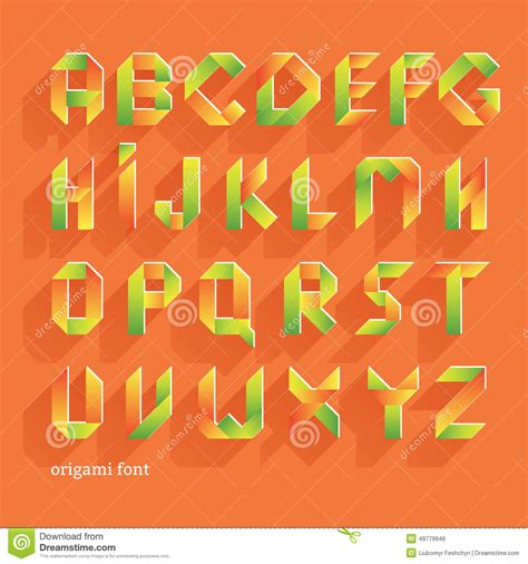 origami font origami orange flat font vector alphabet set
