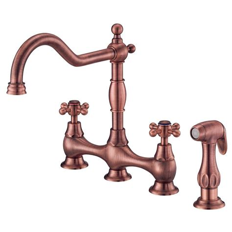 antique copper kitchen faucets danze opulence deck mount 2 handle standard kitchen faucet with sprayer in antique copper