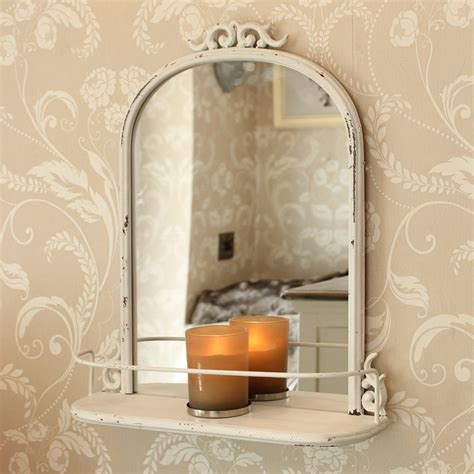 vintage style bathroom mirrors antique style mirror with shelf distressed metal scroll