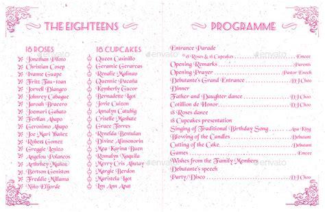 bifold debut party program by giraffebomb graphicriver