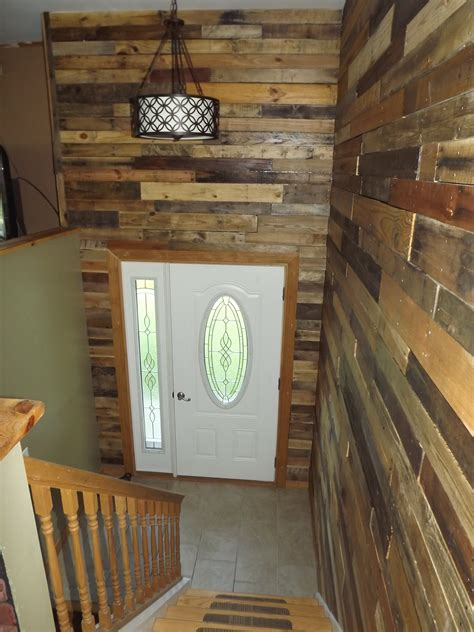 wood walls in house my bi level home foyer with pallet wood walls for the