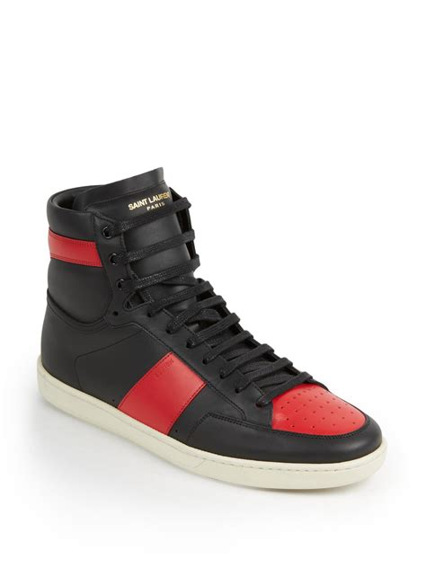 leather high top shoes for laurent colorblocked leather high top sneakers in