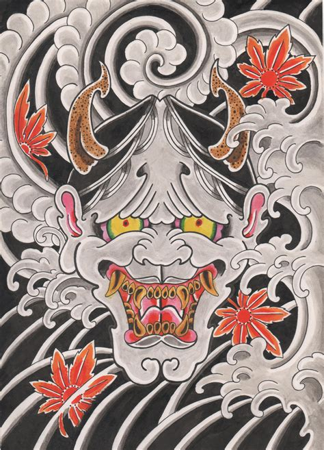 hannya painting thunder tattoo